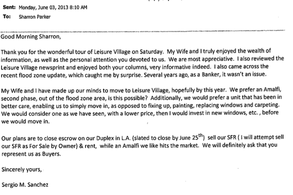 I love leisure village real estate client testimonial sergio